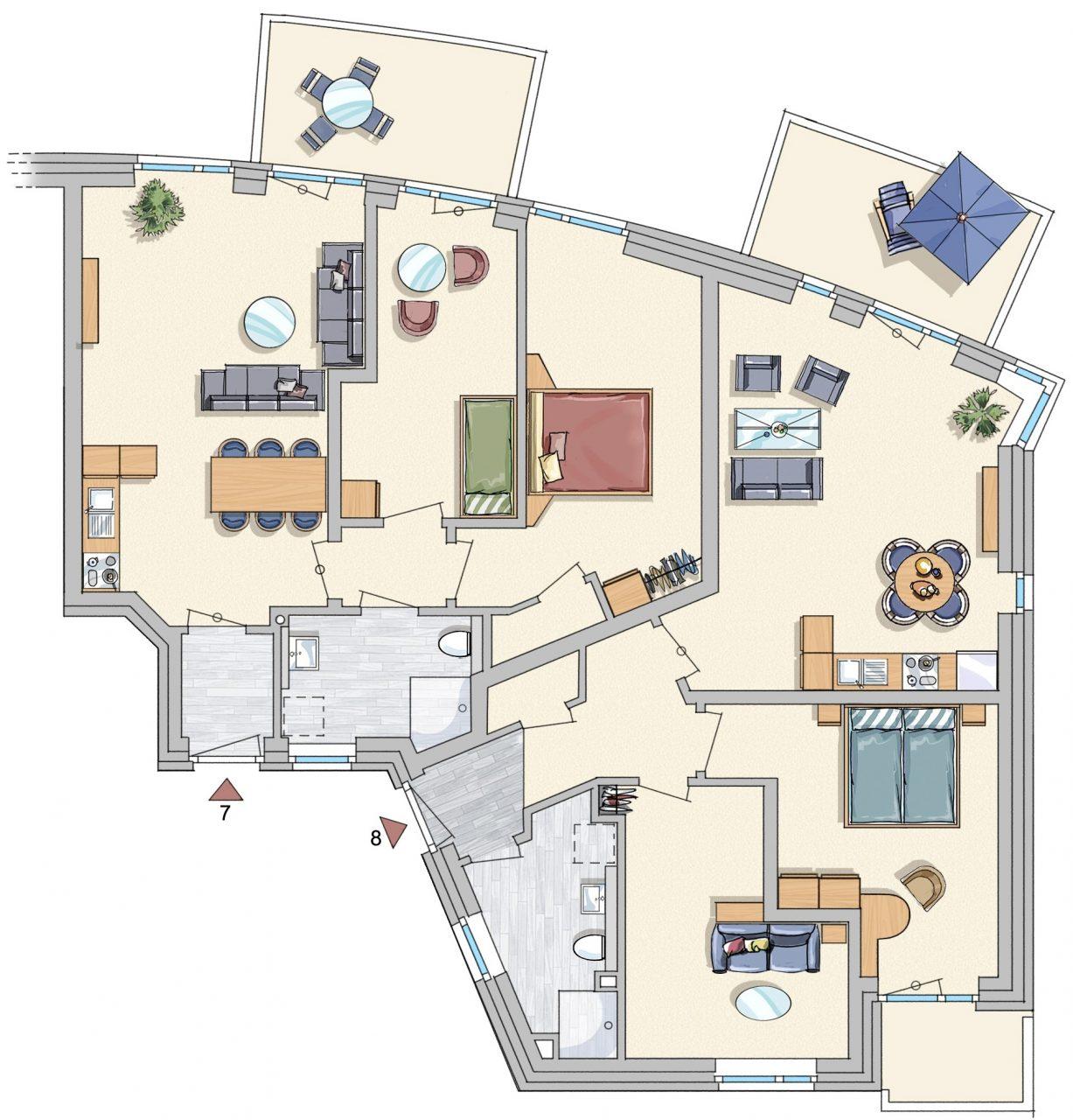 Grundrisse der Wohnungen 7, 8, Wohnungen 3, 4, 11 und 12 im Hochparterre und Staffelgeschoss etwa baugleich