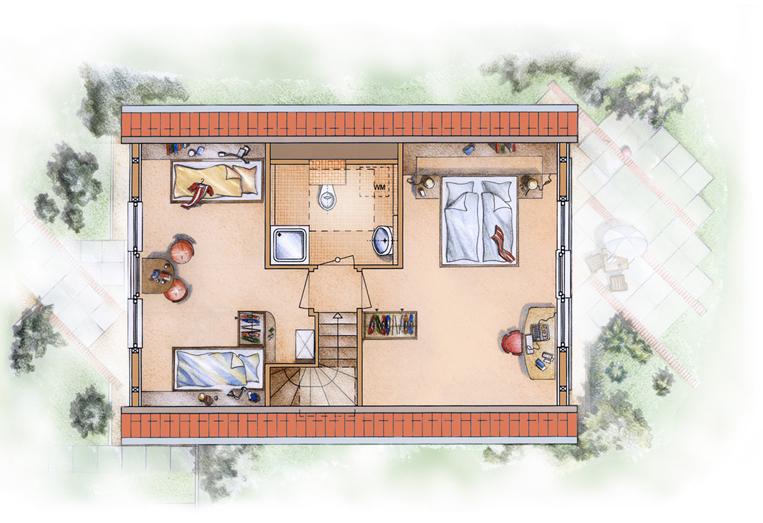 Dachgeschoss mit großen trapezförmigen Atelierfenstern.
