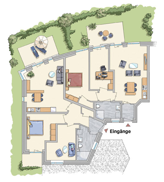 Grundrisse der Wohnungen 1, 2, Wohnungen 5, 6, 9 und 10 im Ober- und Staffelgeschoss etwa baugleich